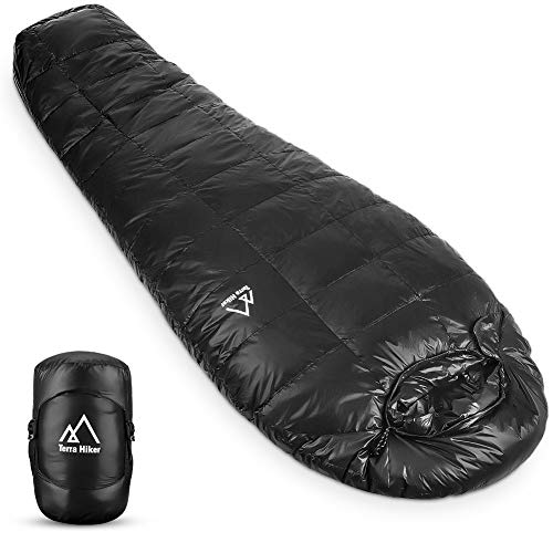 Terra Hiker Down Sleeping Bag, Outdoor Mummy Bag for Backpacking and Mountaineering with Ultra-Light Duck Down Filling, Max User Height 190 cm