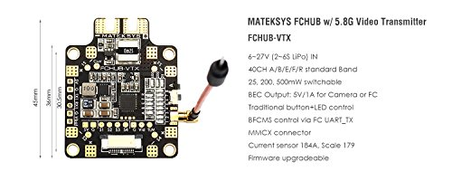 Matek Systems FCHUB-VTX 6~27V PDB 5V/1A BEC w/ 5.8G 40CH 25/200/500mW Switchable VTX Video Transmitter for Carbon Fiber Quad Frame FPV Racing Quadcopter