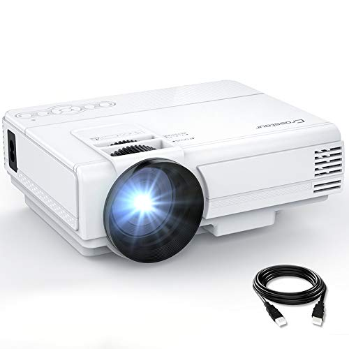 Crosstour Projector, Mini LED Video Projector Home Theater Supporting 1080P 55,000 Hours Lamp Life Compatible with HDMI/USB/SD Card/VGA/AV and Smartphone from Crosstour