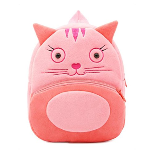 Cute Toddler Backpack Toddler Bag Plush Animal Cartoon Mini Travel Bag for Baby Girl Boy 1-6 Years (Cat)