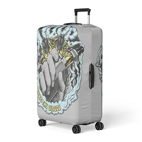 Semtomn Luggage Cover Vape Label E Cigarette Vaping Box Mod in Hand Travel Suitcase Cover Protector Baggage Case Fits 26-28 Inch