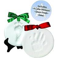 Proud Baby DELUXE Clay Hand Print & Footprint Keepsake Kit - Dries Stone Hard - No Bake - Air Drying (Makes 2 Plaques)