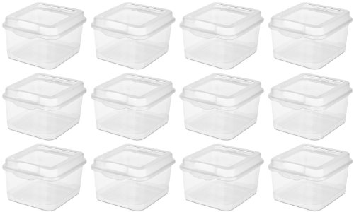 (Sterilite Plastic FlipTop Latching Storage Box, Clear (12 Pack) 18038612)