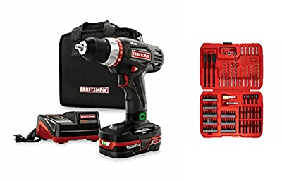 Craftsman | Best Drill Driver & Bit Set Bundle | C3 1/2-In Heavy-Duty Drill Kit | Guaranteed | 100pc Impact Drill and Drive Set | Top Rated Seller - #1 | Small to Large Household Jobs | Handyman Tools