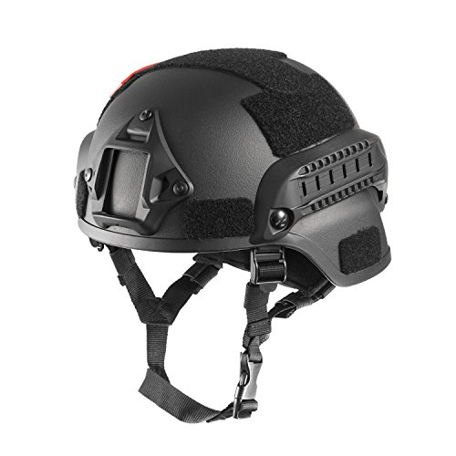 OneTigris MICH 2000 Style ACH Tactical Helmet with NVG Mount and Side Rail (Black)