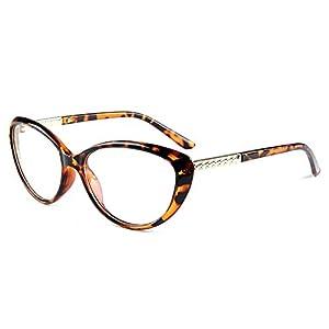 COMPUTER Optical Blue Light Blocking Anti-fatigue Cat Eye Frame Clear Glasses (Tortoise, Clear)