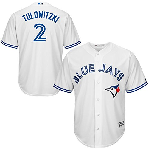 (Majestic Troy Tulowitzki Toronto Blue Jays #2 MLB Youth Cool Base Home Jersey (Youth Medium 10/12))