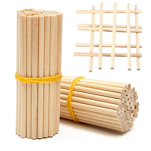Wooden Sticks,100 Pieces Long Wooden Sticks for DIY Craft Food, Long Bamboo Round Wooden Sticks,20cm arfwood Natural Wood Dowel with 4mm Diamter ()