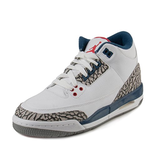 Jordan Nike Kids Air 3 Retro OG BG White/Fire Red True Blue Basketball Shoe 6.5 Kids US