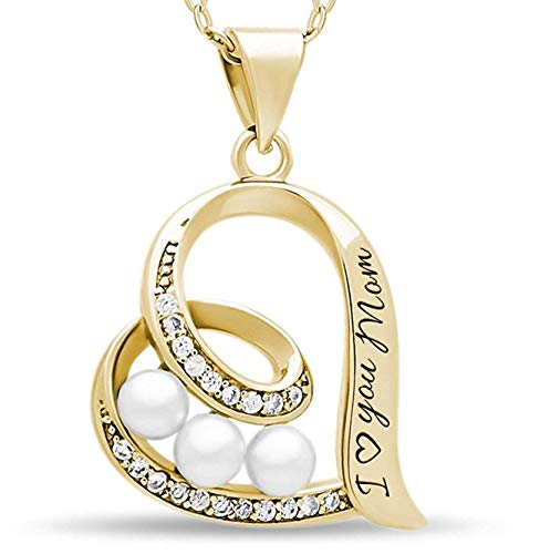 TZARO-Jewelry 925 Sterling Silver Elegant Mother Necklace Engraved I Love You Mom, 14 Gold Over Solid Silver Heart Pendant with Simulated Shell Pearl