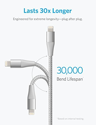 Anker PowerLine+ II Lightning Cable (10ft), MFi Certified for Flawless Compatibility with iPhone X/8/8 Plus/7/7 Plus/6/6 Plus/5/5S and More(Silver) by Anker (Image #1)