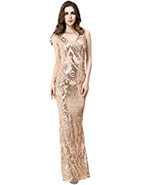 Womens V-Neck Sequin Elegant Formal Evening Dresses for Wedding Party