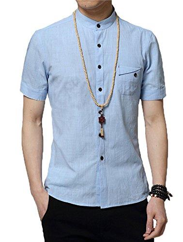 Plaid&Plain Men's Slim Fit Short Sleeve Banded Collar Solid Linen Shirts Blue XS