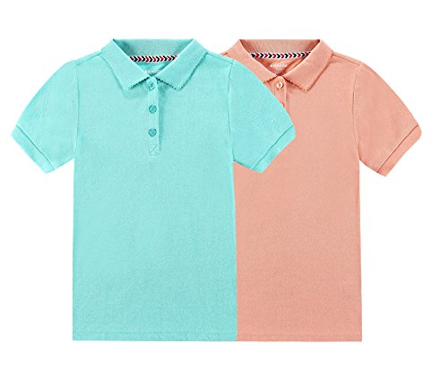 Bienzoe Girl's Antimicrobial Breathable Short Sleeve Polo 2pcs PACKD 14/16 by Bienzoe