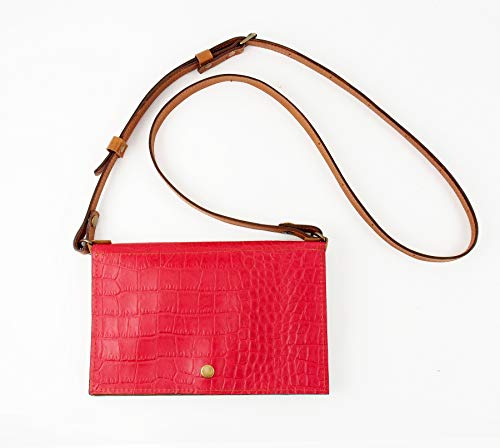 Festival Belt Bag converts to Cross-Body Purse in Red Croc-Embossed Leather