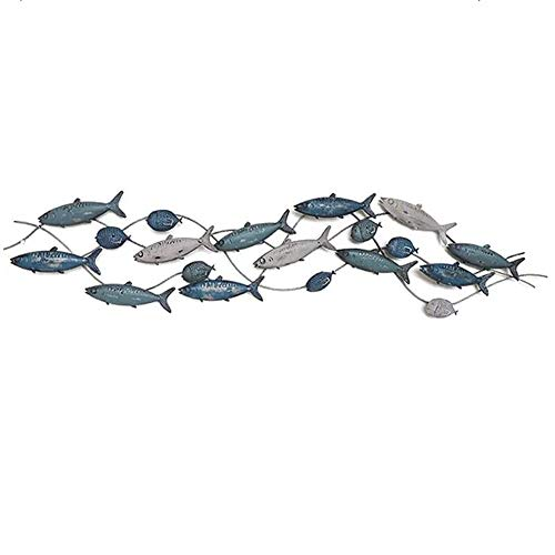 Izzya Mediterranean Style Wall Decoration Children's Room Home Decor Three-Dimensional Wrought Iron Fish Pendant Wall Hanging -