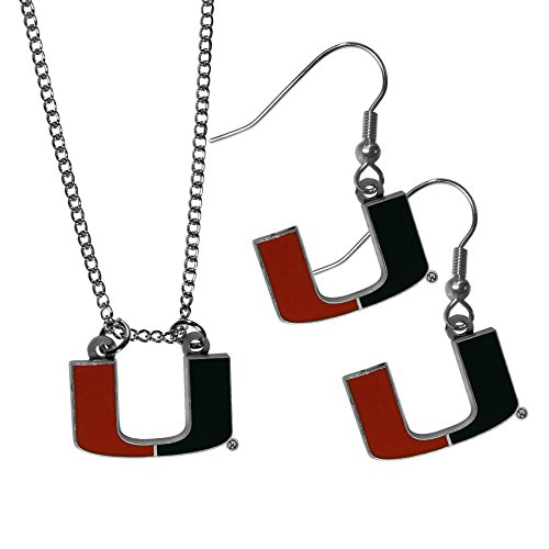 NCAA Miami Hurricanes Dangle Earrings & Chain Necklace Set, Orange by Siskiyou