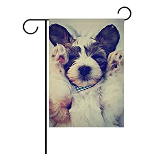 U LIFE Cute Puppy Dog Animal Garden Yard Flag Banner for Outside House Flower Pot Double Side Print 12 x 18 Inch