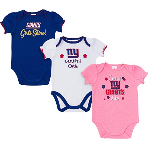 Pink Ny Giants (NFL New York Giants Baby-Girls 3-Pack Short Sleeve Bodysuits, Pink, 18)