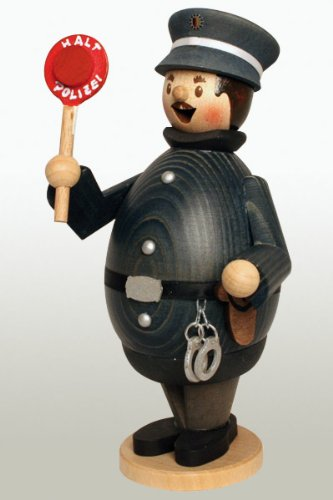 Happy Max the Policeman German Wooden Christmas Incense Smoker Made in Germany Man Incense Smoker