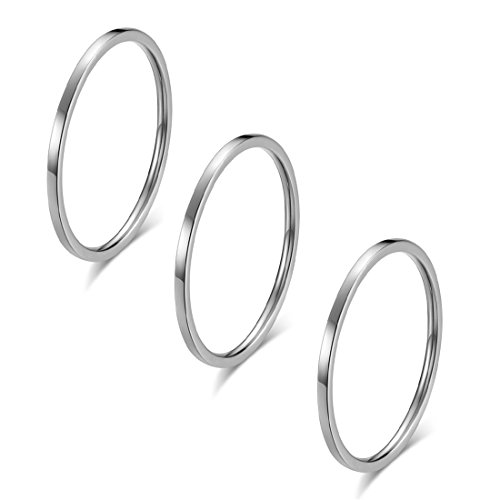 IFUAQZ 3pcs 1mm Stainless Steel Plain Band Knuckle Stacking Midi Rings for Women Girls Comfort Fit Silver Size 3