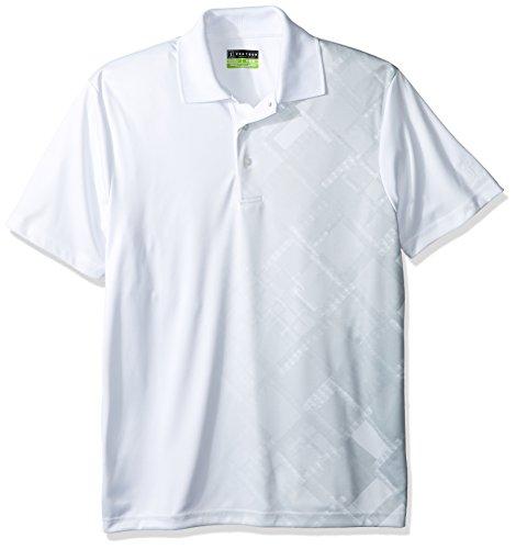 PGA TOUR Men's Short Sleeve Asymmetrical Printed Polo Shirt, Tech Argyle Bright White, S