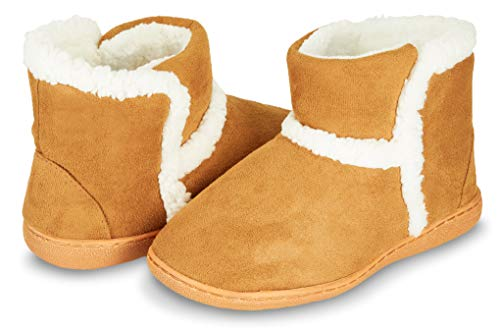 Floopi Womens Indoor Outdoor Bootie Slipper - Sherpa Fur Lined Clog W/Memory Foam (L, Chestnut-201) (Lined Sherpa Boots)