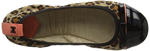 Marrón Cara Mujer Leopard Cerrada Bailarinas Animal Black para 786 Punta Twists con Butterfly HqB4Oz