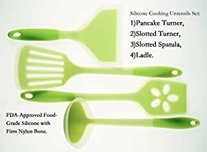 MelonBoat Silicone Cooking Utensils Set of 4, Slotted Turner Spatula Ladle Set, Heat Resistant Kitchen Tools Set, Green