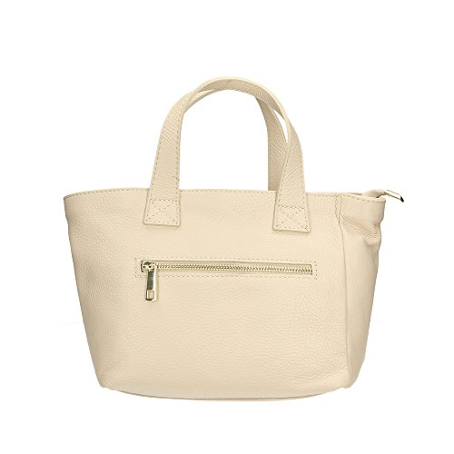 Aren Handbag Borsa a Mano da Donna in Vera Pelle Made in Italy - 25x20x10 Cm Beige