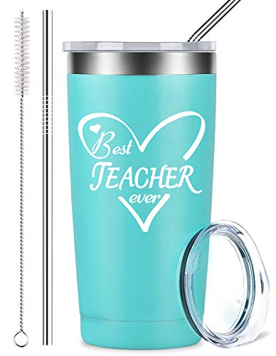 Best Teacher Ever - Stainless Steel Mug Tumbler with Lid and Straw, Insulated Travel Coffee Cup Teachers' Day Birthday Gifts, Teacher Retirement Gift for Her Kids Teacher Women Men (20 oz, Blue)