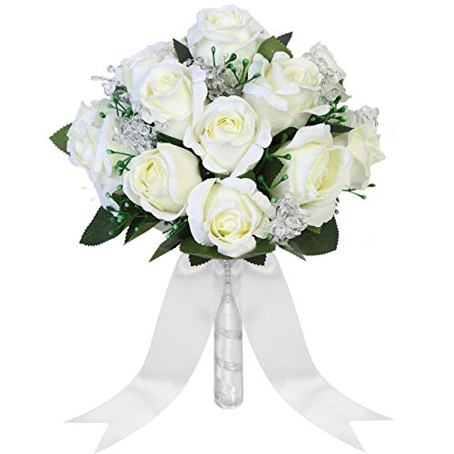 Aivanart Wedding Bouquet Crystal Silk Roses Bridal Wedding Hand Bouquet Bridesmaid Holding Artificial Fake Flowers (Silk Rose Bridal Bouquet)