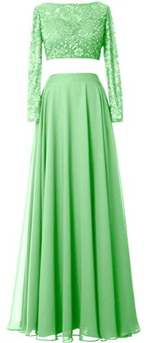 Formal Minze Gorgeous Dress Evening 2 MACloth Long Gown Lace Piece Chiffon Prom Sleeve anzx1dqRS