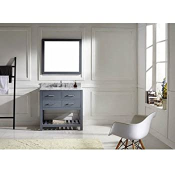 Virtu USA MS 2236 WMSQ GR Transitional 36 Inch Single Sink Bathroom