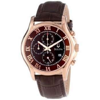 Bulova Men's 97B120 Chronograph Rose-Gold Strap Watch, Watch Central