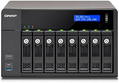 QNAP TS-853 PRO NAS-Server 2GB (Intel Celeron Quad-Core, 2GHz, 2-Slot, 8X 8,9 cm (3,5 Zoll)/6,4 cm (2,5 Zoll), 4X RJ-45, 3X USB 3.0)