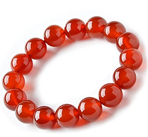 Natural 8mm Red Carnelian Bracelet Birthstone Bead Beaded Balance Stretch Handmade Bangle (Carnelian Onyx)