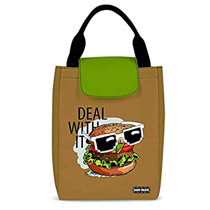 Raavi colors Insulated Lunch Bag Deal with it for Office Men, Women and Kids, Anti-lint Tiffin Bags for School, Picnic…