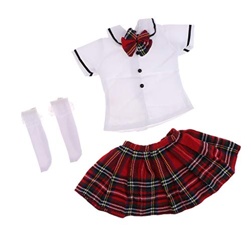 SM SunniMix Lovely T-Shirt Plaid Skirt Stockings Party Clothes Set for 1/3 BJD SD Dolls (Clothes Doll Bjd)