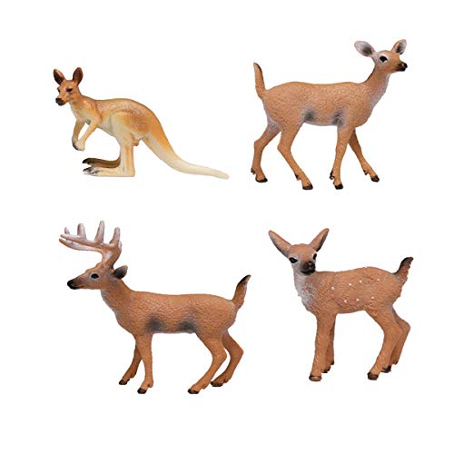Toyvian Whitetail Deer and Kangaroo Collectible Figurine Models Set for Decoration ()