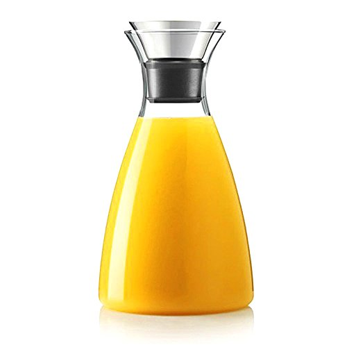 Hiware 50 Oz Glass Drip-free Carafe with Stainless Steel Flip-top Lid, Hot and Cold Glass Water Pitcher, Tea/Coffee Maker & Cafe, Iced Tea, Beverage Pitcher As Well As for Decanting and Serving Wine]()