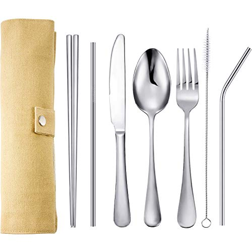 Tatuo 7 Pieces Portable Stainless Steel Flatware Set Travel Cutlery Silverware Set Reusable Utensils with Case, Stainless Steel Knife Fork Spoon Chopsticks Straws (Silver)