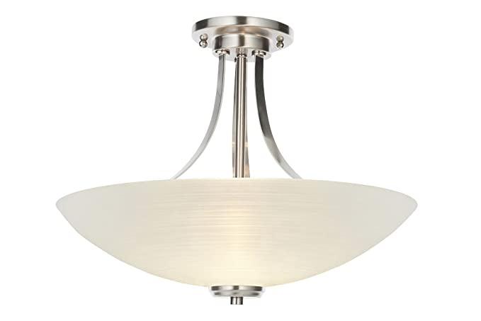 Hilton 3 light satin chrome and glass semi flush ceiling light hilton 3 light satin chrome and glass semi flush ceiling light fitting mozeypictures Image collections