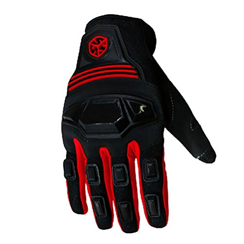 CRAZY AL'S SCOYCO MC24 Motorcycle Gloves Sports Protective Gear Shock Resistant Padded Full Finger Safety Breathable Motorcycle Gloves (M, Red)