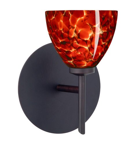Besa Lighting 1SW-185841-BR 1X40W G9 Divi Wall Sconce with Garnet Glass, Bronze Finish