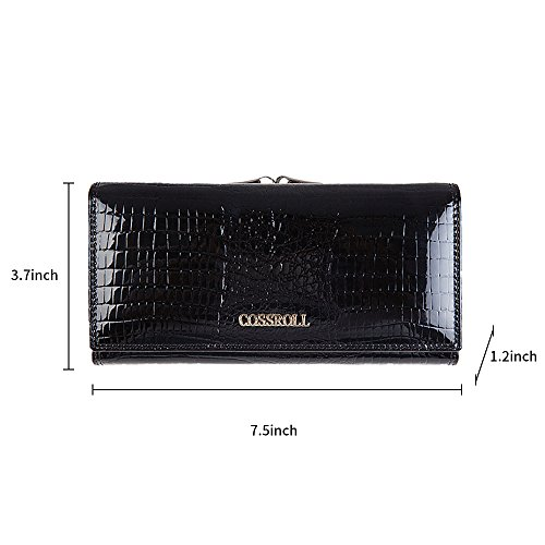 Leather Wallets for women Crocodile Grain Purse Luxury Genuine Leather Cluth Wallet Ladies Bag by COSSROLL (Image #2)