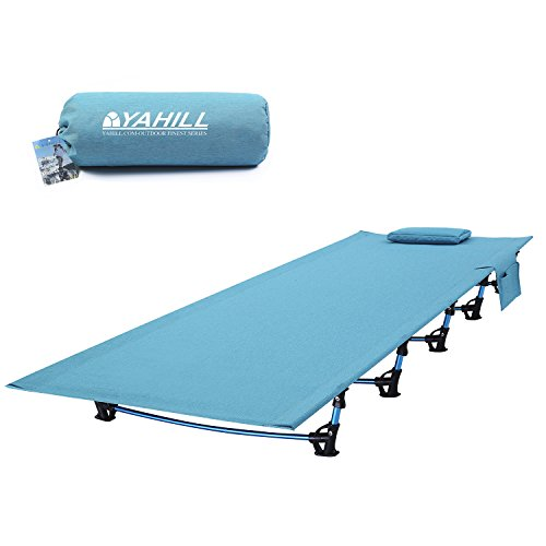 Yahill Ultralight Folding Camping Cot Sleeping Portable Backpack Tent Bed Replacements Aluminium Alloy for Indoor Furniture Outdoor Travel Hiking Fishing Hunting (Extended Vision/Blue)
