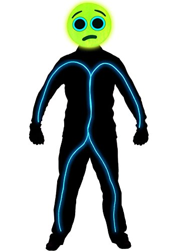 GlowCity Light Up Worried Emoji Stick Figure Costume For Parties & Halloween, Aqua - Medium -