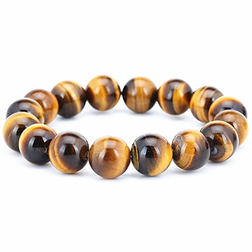 Men's AAAA Quality Tiger Eye Stone Agate Handmade Bracelet 12mm Strand Bracelets