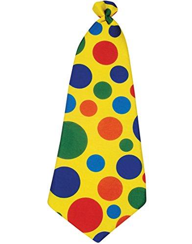 Star Power Long Clown Polka Dot Tie, Yellow Rainbow, One Size (21